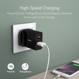[SG Plug] Anker 24W 2-Port USB Charger with PowerIQ™-Black